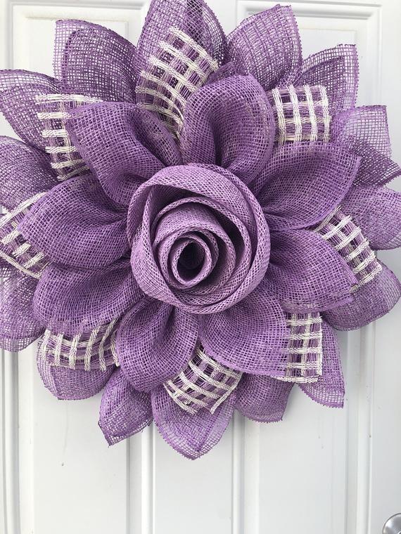 Purple flower Rose bud Mothers Day wreath Etsy Burlap
