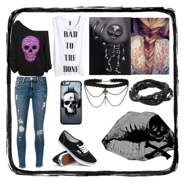 """Skulls"" by jinxkathrinestitched ❤ liked on Polyvore"