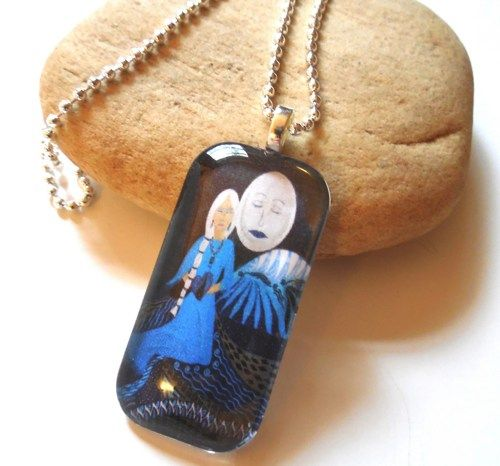 Guardian of the Dreamtime Woman and Moon Glass Art Pendant Necklace  | ConsciousArtStudios - Jewelry on ArtFire