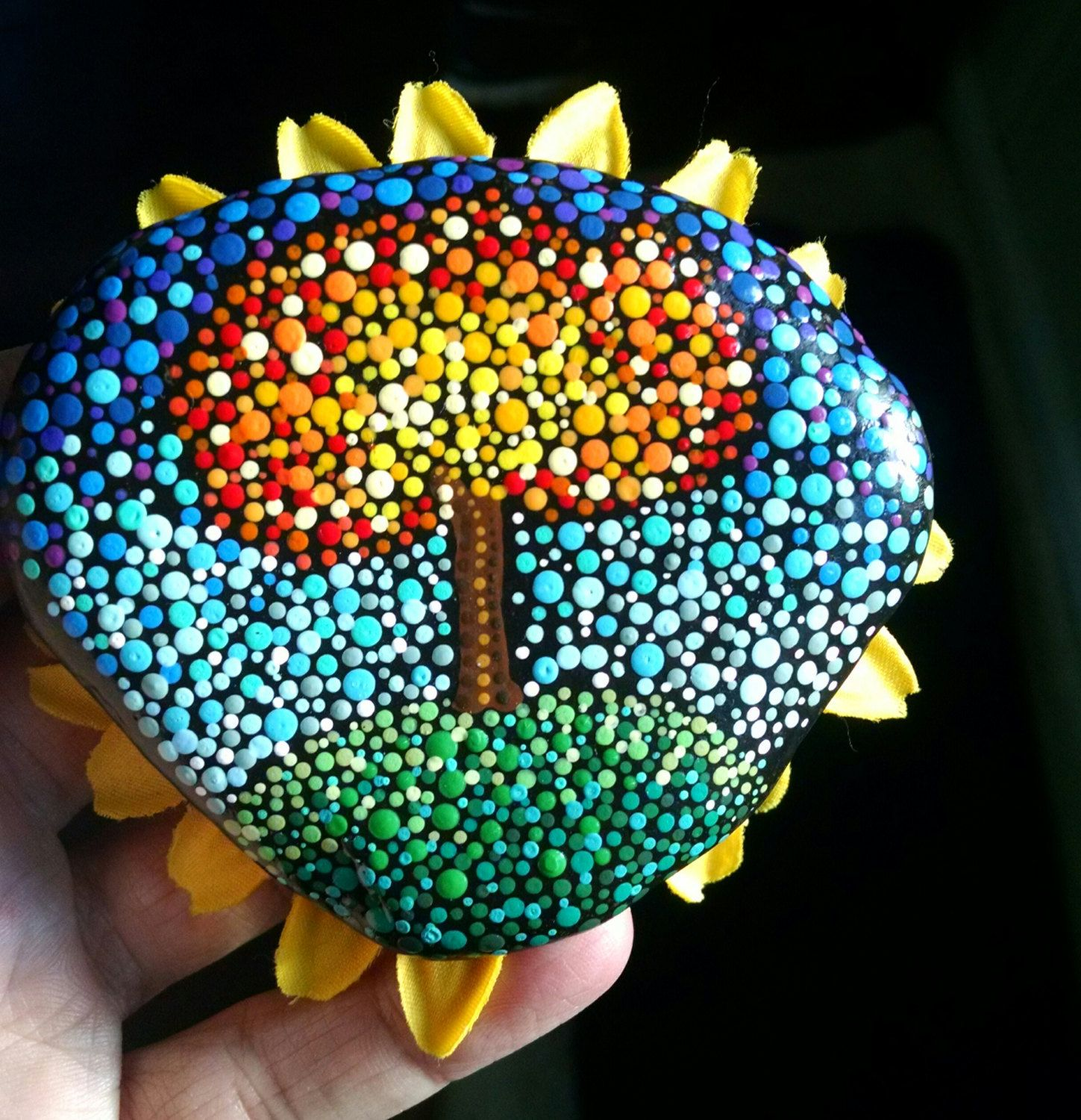 Fall Tree Painted Rock Colorful Pointillism Dot Art