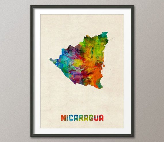 Nicaragua Watercolor Map Art Print 1336 By Artpause On Etsy Map