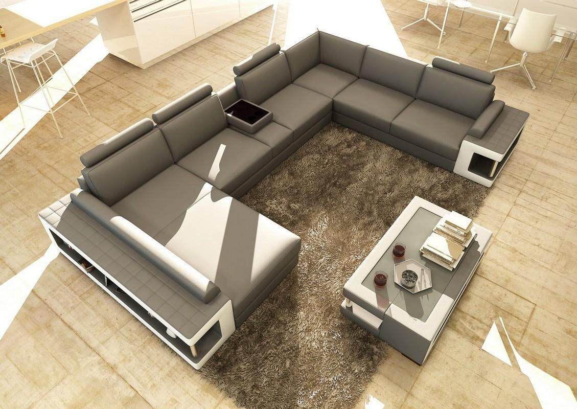 Divani Casa 5080 Grey And White Leather Sectional Sofa W Coffee Table
