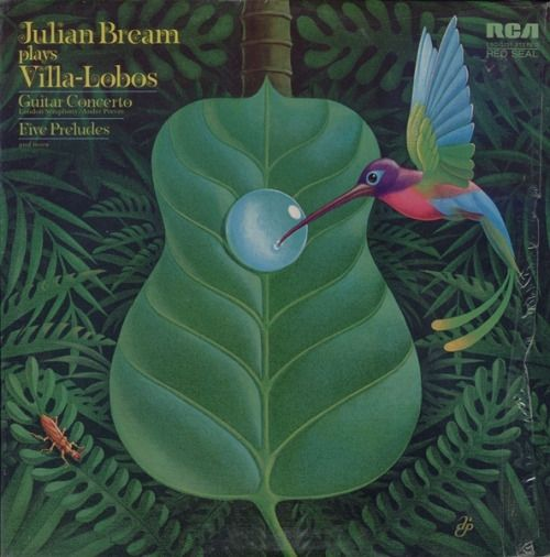 "Cheesy/cool, super-of-its-day album cover for ""Julian Bream plays Villa-Lobos."""