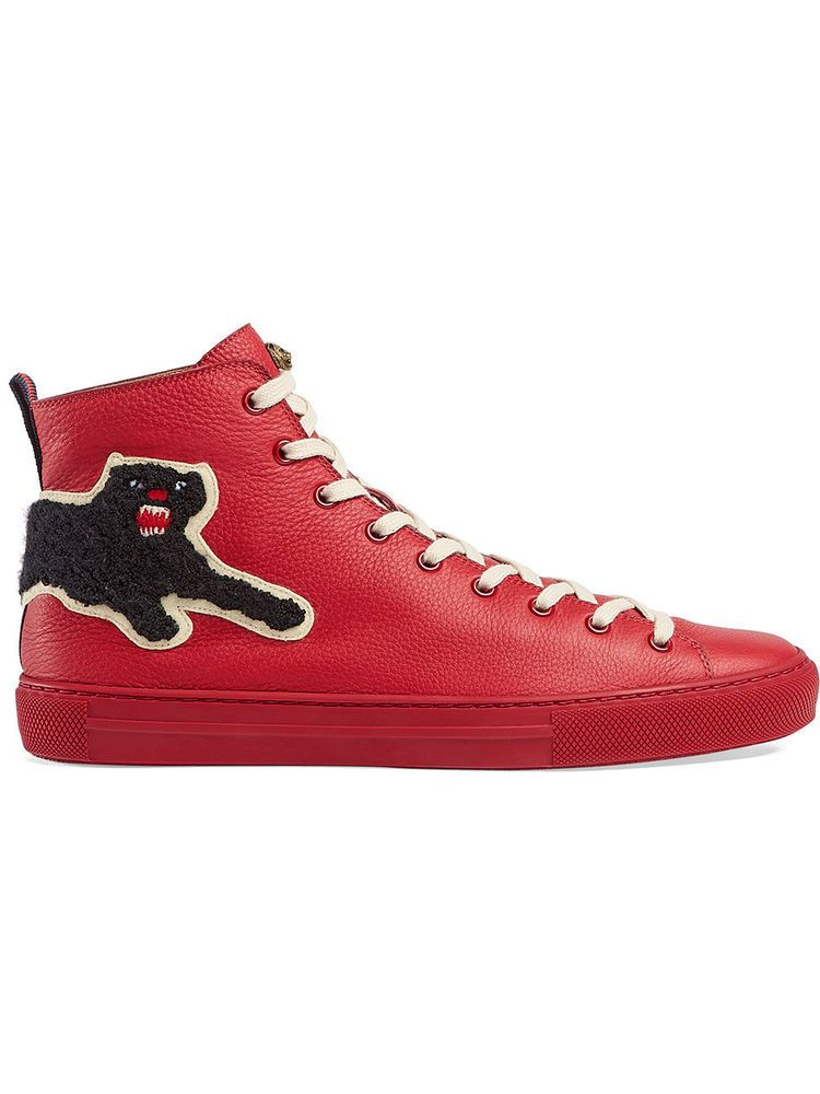 Details about Gucci Men\u0027s Major Panther Patch Leather High