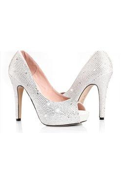 チャーミングな シルバーステインアッパー スティレットヒール ピープトゥ結婚式ウェディング靴