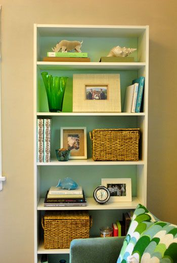 Love This Bookcase White Ikea With Blue Painted Background