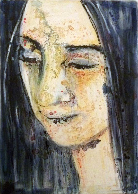 Je promets que tu m'aimes - Barbara LAVENDA ,nu féminin, technique mixte sur toile,
