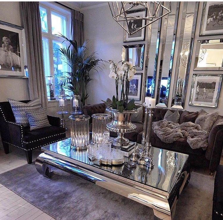 Luxury Glam White Living Room Novocom Top, Mirrored Living Room Furniture Set