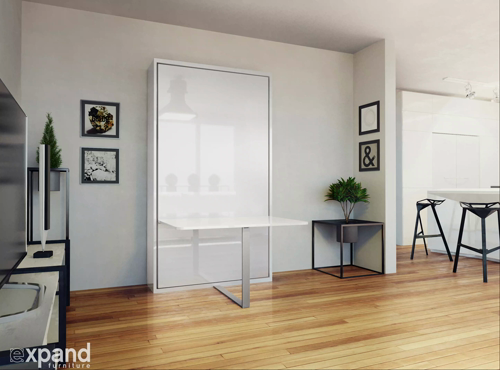The Hover Single Vertical Wall bed with Table Desk in 2020