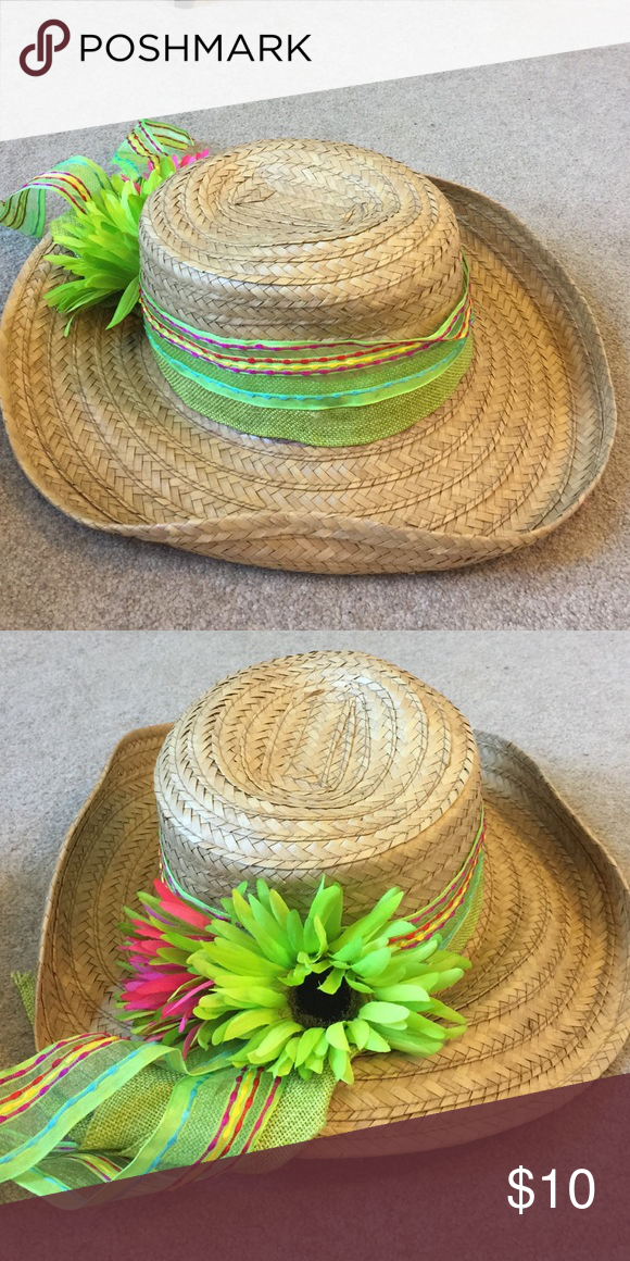 Straw hat with pink and green flowers 100% straw Accessories Hats