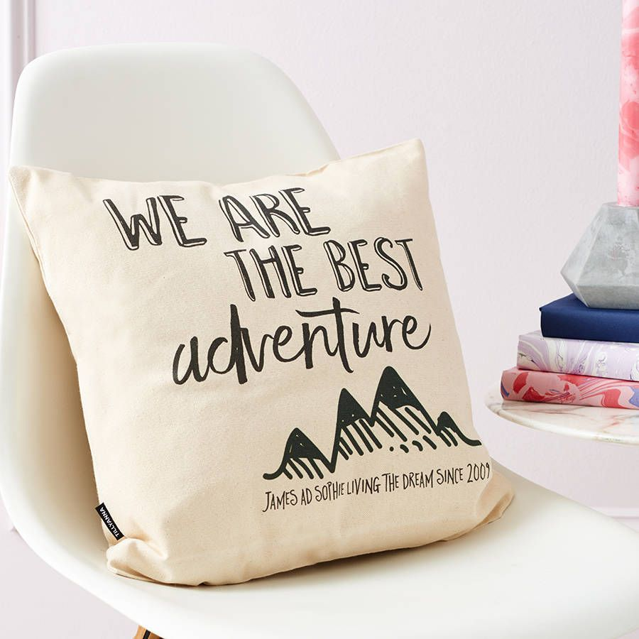 Personalised adventure cushion gift future house and house