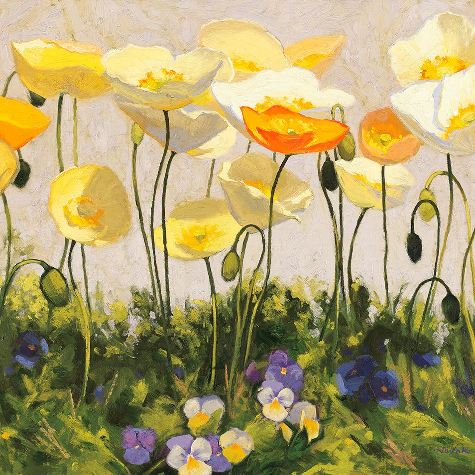 Poppies and Pansies II by Shirley Novak, Floral Art Print or ...