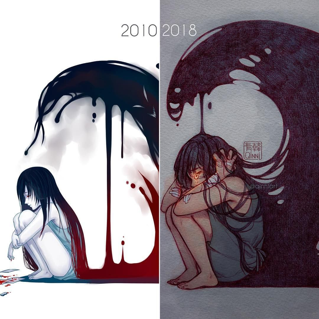 2010 vs 2018 • • • This is an old idea I decided to redo; I actually started this before I was hospitalized, and finished in the hospital…