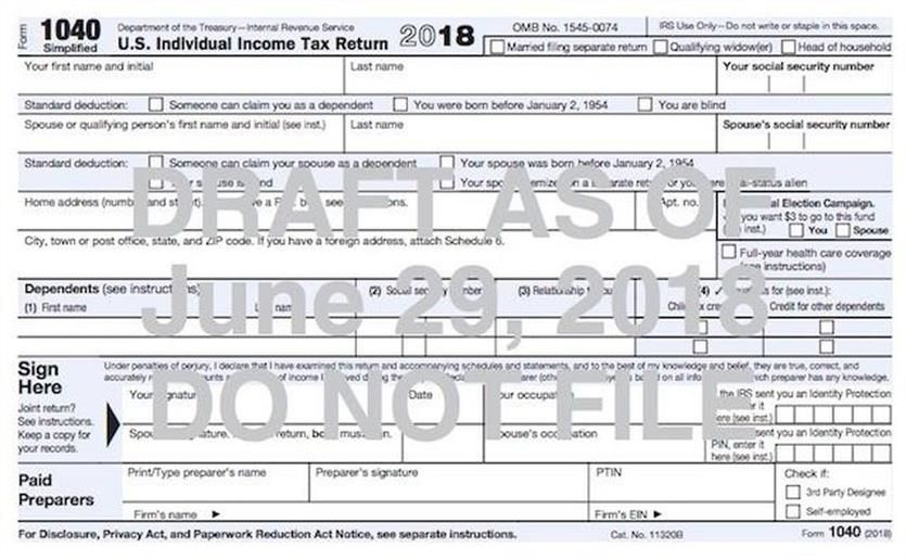 Sneak Peak At New Postcard Size Irs Tax Form Tax Forms Irs