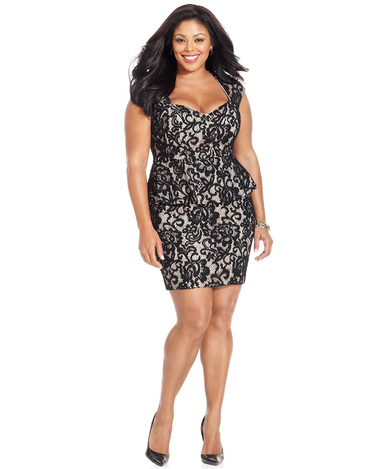 Xscape Plus Size Dress, Cap-Sleeve Lace Peplum Back Cutout - Plus ...