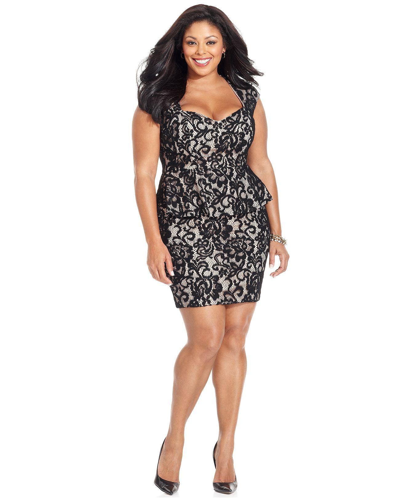 Xscape Plus Size Dress Cap Sleeve Lace Peplum Back Cutout Plus