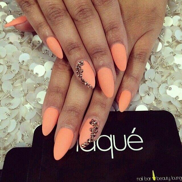 Orange Matte/Gold Rhinestones | Nails* | Pinterest