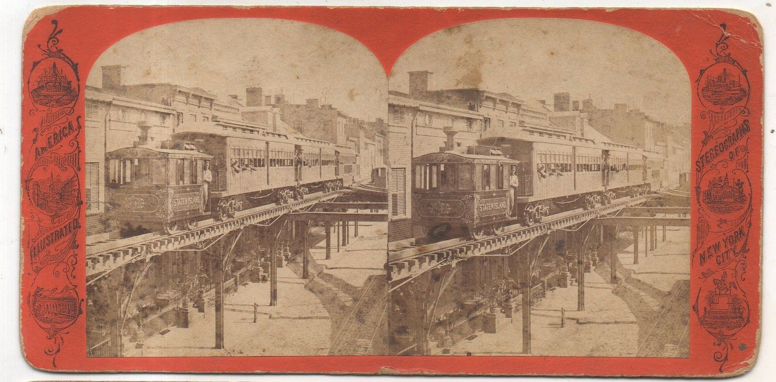 NEW YORK CITY Elevated Railroad, Staten Island Line, Antique Stereoview Card