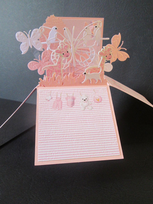 Carte boite pop up explosion pour une petite fille naissance ...