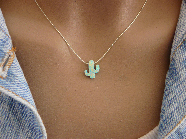 Photo of Cactus necklace, Opal cactus necklace, Cactus jewelry, Southwestern jewelry, Tree necklace, Green cactus, Boho necklace, Cactus pendant