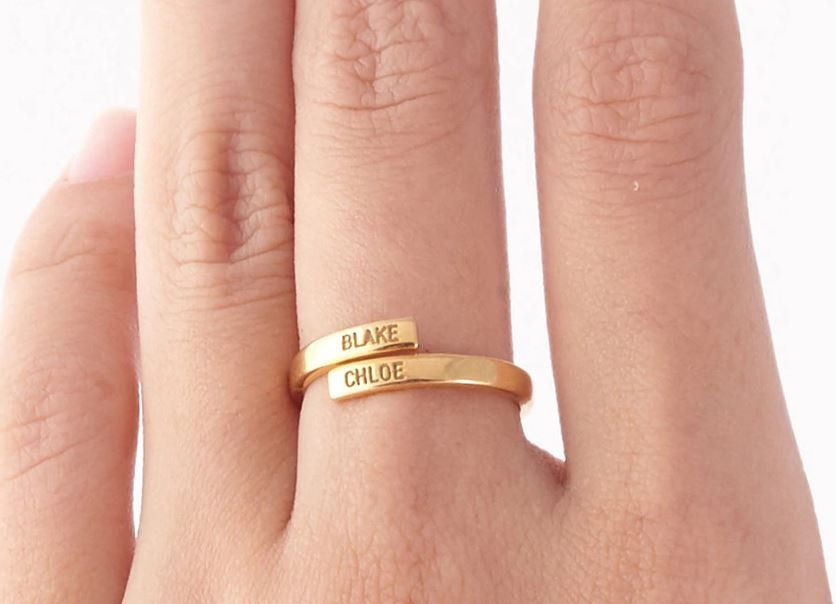 Personalize Wrap Ring Engraved Two Name Rings For Women Men