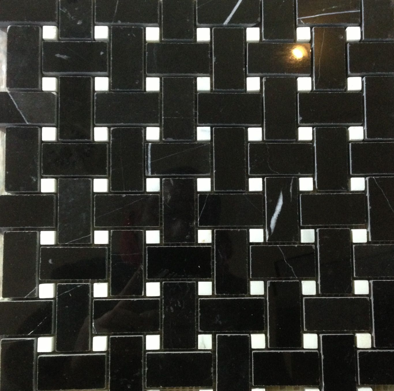 Basket weave, black marble with white dots, in stock $9.95/ sf C-Line marble 2100 Jericho tpk New Hyde Park, NY 516-742-8886