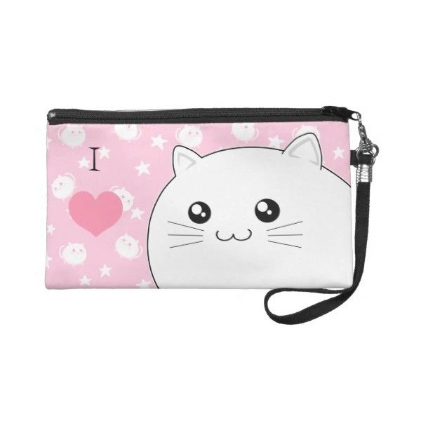 Cute Kawaii white kitty cat Wristlet Purses ( 54) ❤ liked on Polyvore  featuring bags 1e3b8d5fb5dbf