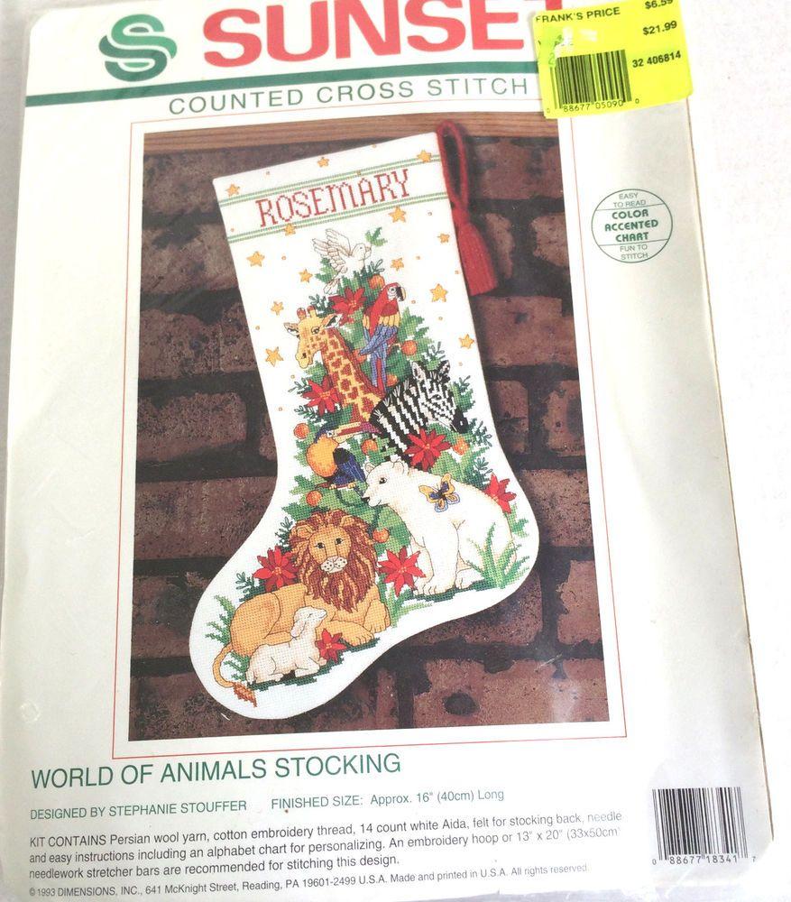 "Sunset Counted Cross Stitch World of Animals Stocking Finished Size 16""  #Sunset #Stocking"