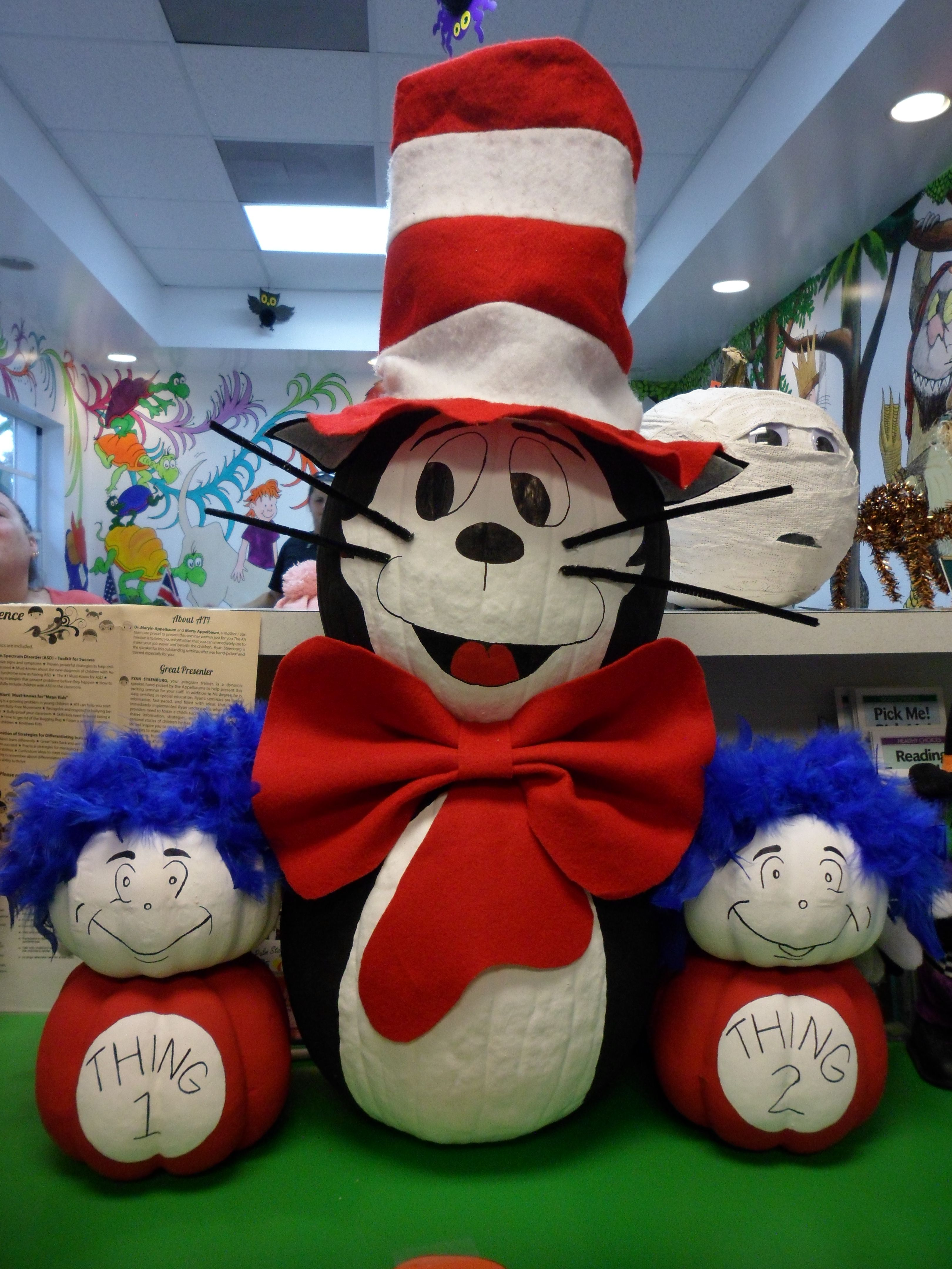 Cat in the Hat Thing 1 & Thing 2 pumpkin decorating
