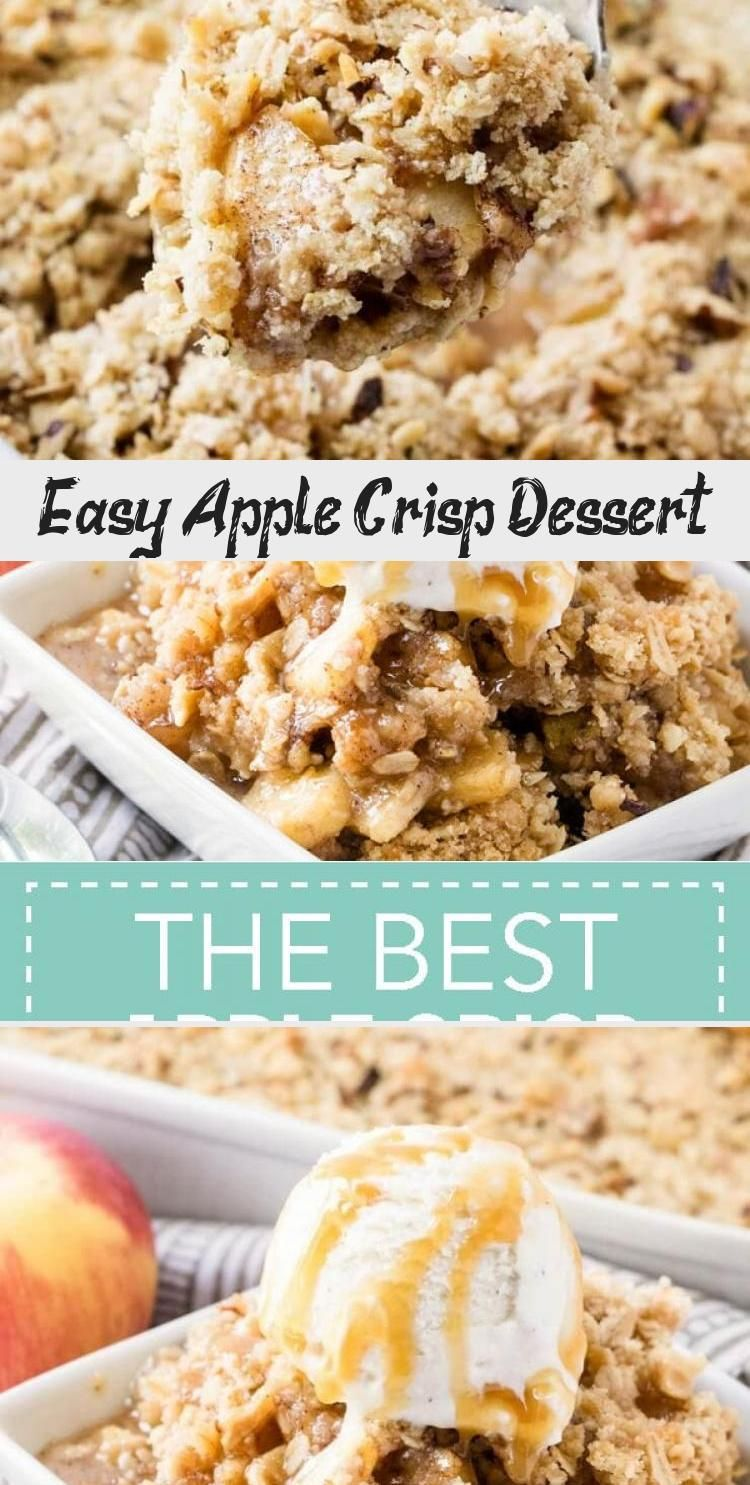 Easy Apple Crisp Dessert – Fresh crisp apples topped with a buttery oatmeal crumble that's bake