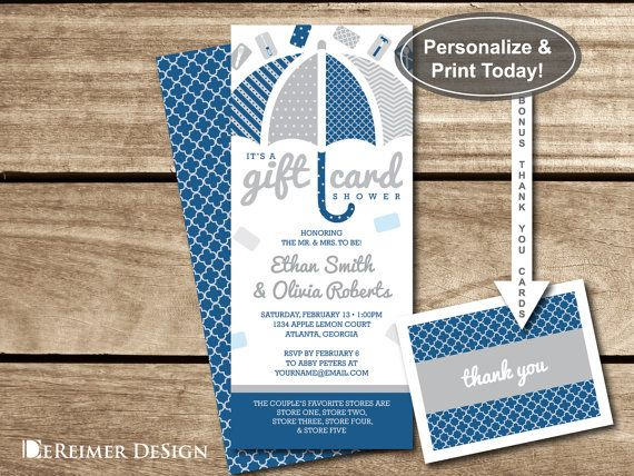 Gift Card Shower Invitation in Blue and Gray Navy plus BONUS – Gift Card Wedding Shower