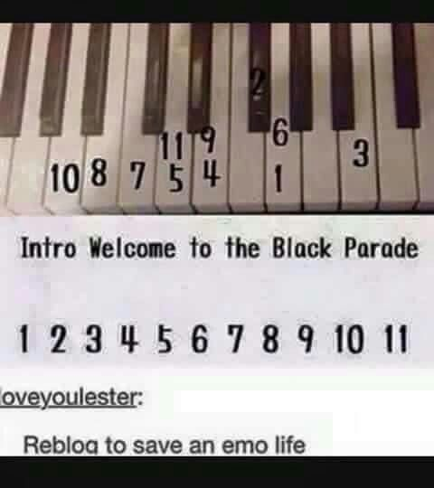 Mcr These Are The Only Notes I Can Play On The Piano That Was