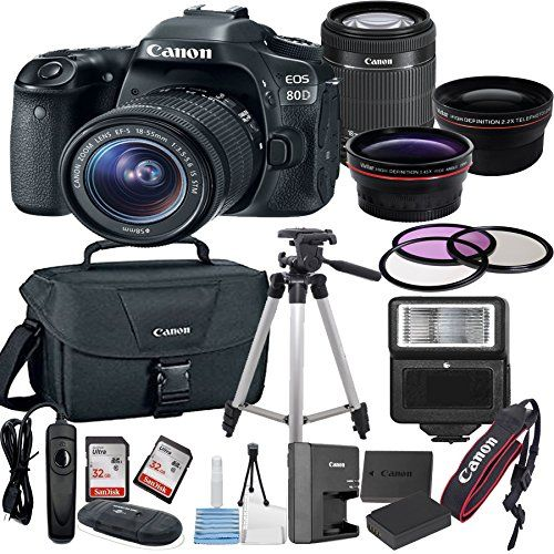 Canon EOS 80D Digital SLR Camera with EFS 1855mm Bundle includes Camera Lenses Filters Bag Memory Cards Tripod Flash Remote Shutter and More  International Version * You can find more details by visiting the image link.