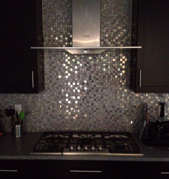 White Sparkle Kitchen Floor Tiles: Backsplash Black Cabinets