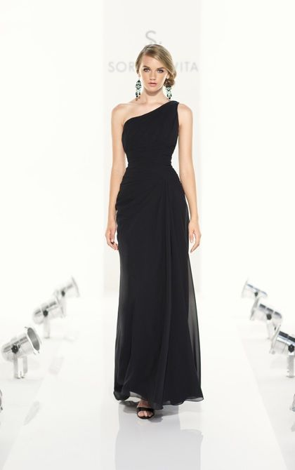 Full Length Modified A Line Bridesmaid Dress In Chiffon One