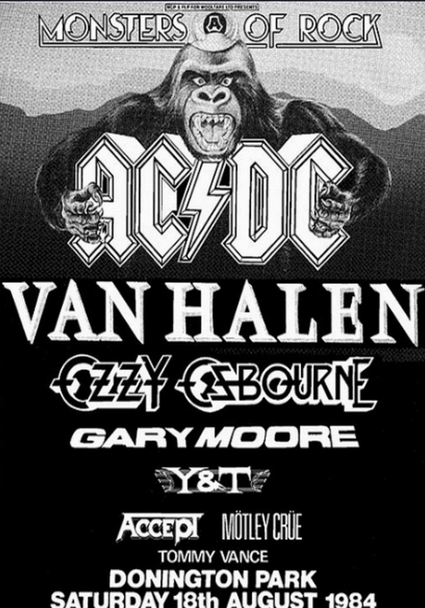Ac Dc Vintage Poster Monsters Of Rock Castle Donington Uk 1984 Concert Posters Band Posters Rock Poster Art