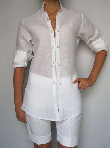 100% Capri Women's Camicia Gemini Linen Blouse by 100% Capri