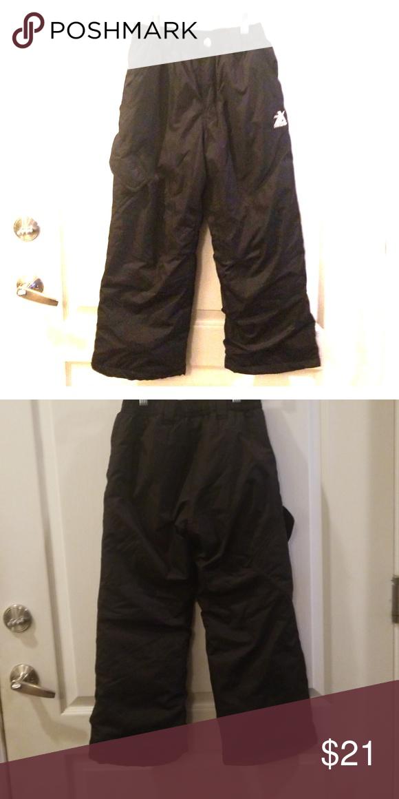 e6198e0ce ZeroXPosur Black Snow Ski Pants Youth 7-8 Black with elasticized waist,  zipper/snap front pocket, velcro close side pocket, storm cuffs under pant  legs.