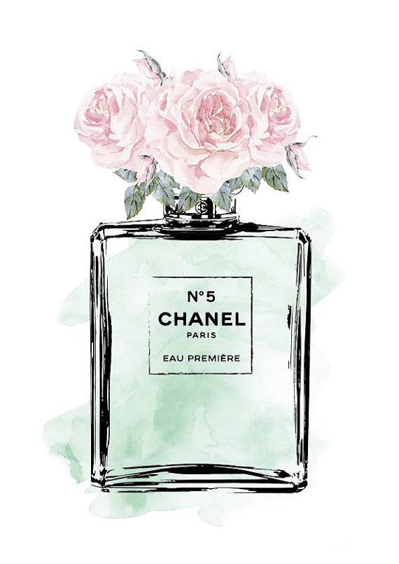 Roses Mint Watercolor Printed Fashion Illustration Perfume Pink And Mint Pe
