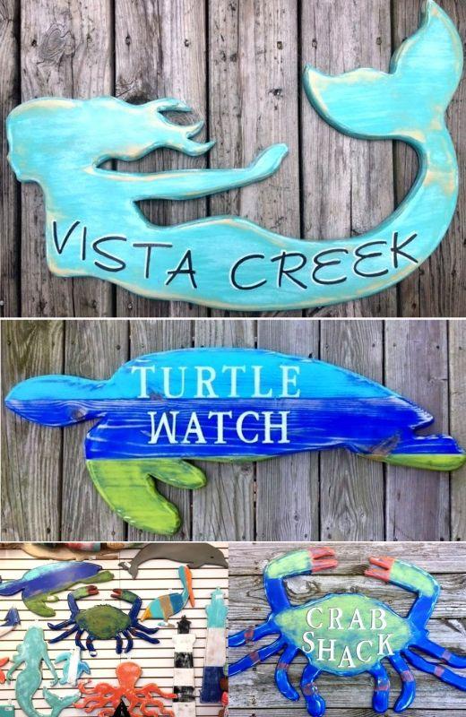 Coastal & Beach Cottage Style House Name Plaque Sign Ideas ...