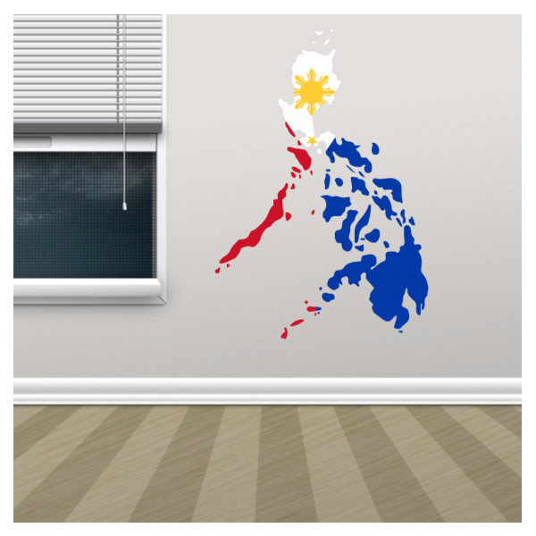 philippines flag map sticker | countries alphabet wall sticker