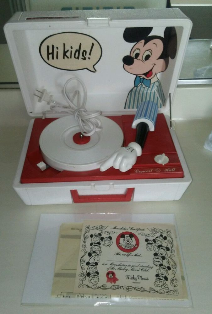 MINT-Vintage CONCERT HALL  Mickey Mouse Disney Record Player w/ box & Inst.  | eBay