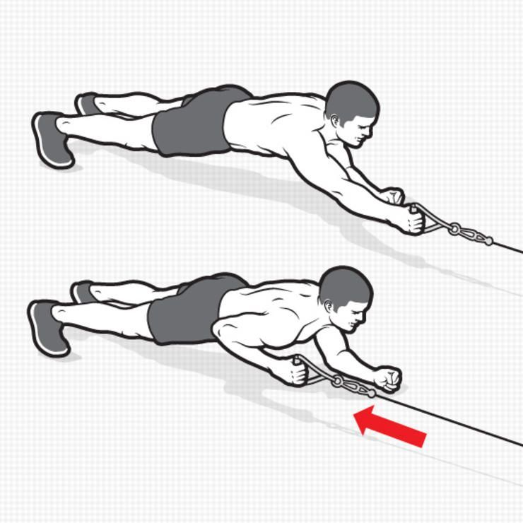 PLANK CABLE ROW HOW TO DO IT: Attach a handle to the low pulley of a cable station and face it in a...