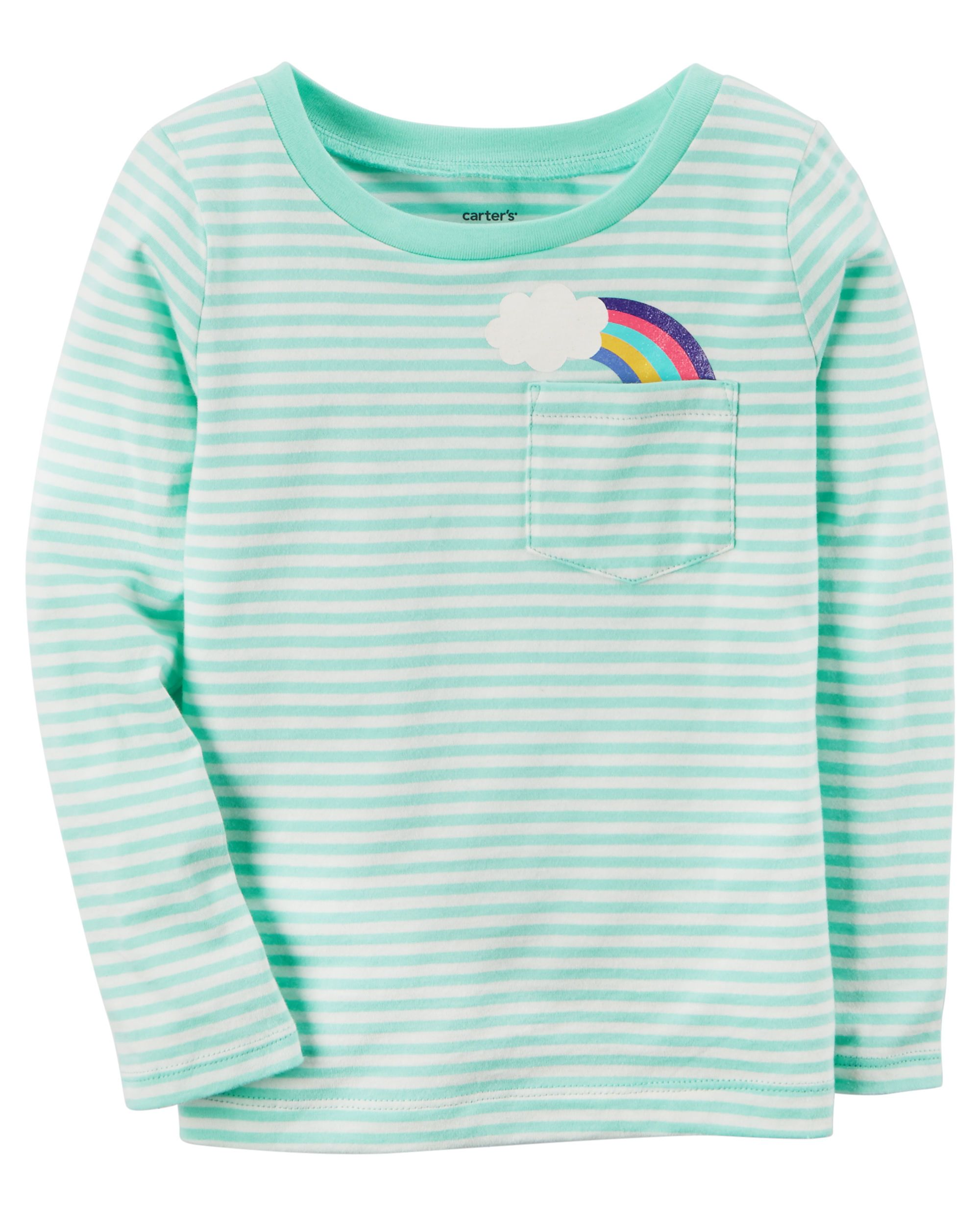 97d0e4a77 Toddler Girl Striped Rainbow Pocket Tee from Carters.com. Shop clothing &  accessories from a trusted name in kids, toddlers, and baby clothes.