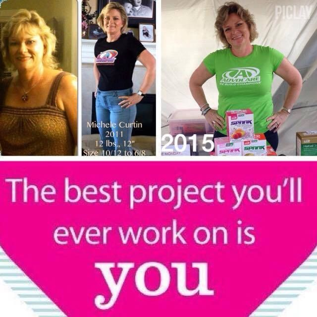 """""""Still maintaining a size 8 after 4 years on these amazing products. When I first discovered AdvoCare I was stuck on a weight plateau that healthy eating and daily exercise just was not able to budge. I lost 12 pounds 12 inches and 2 dress sizes. Now at 51 menopause is making things a little tougher but it will not defeat me!"""" - Michele Curtin"""