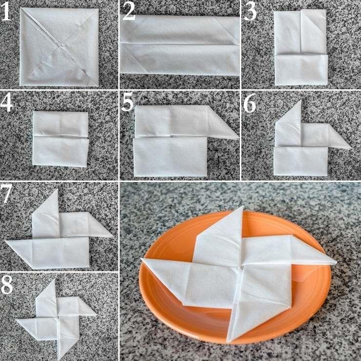 Способы складывания бумажных салфеток фото