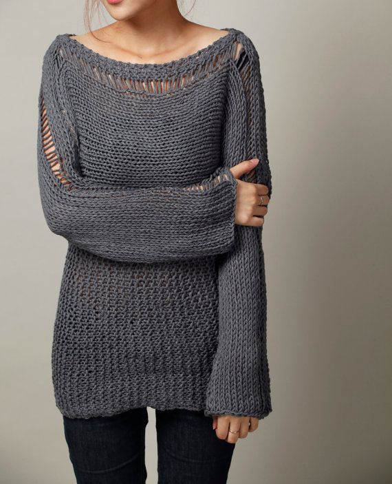 Hand Knit Woman Sweater - Eco Cotton Oversized sweater in Charcoal Grey - rea...
