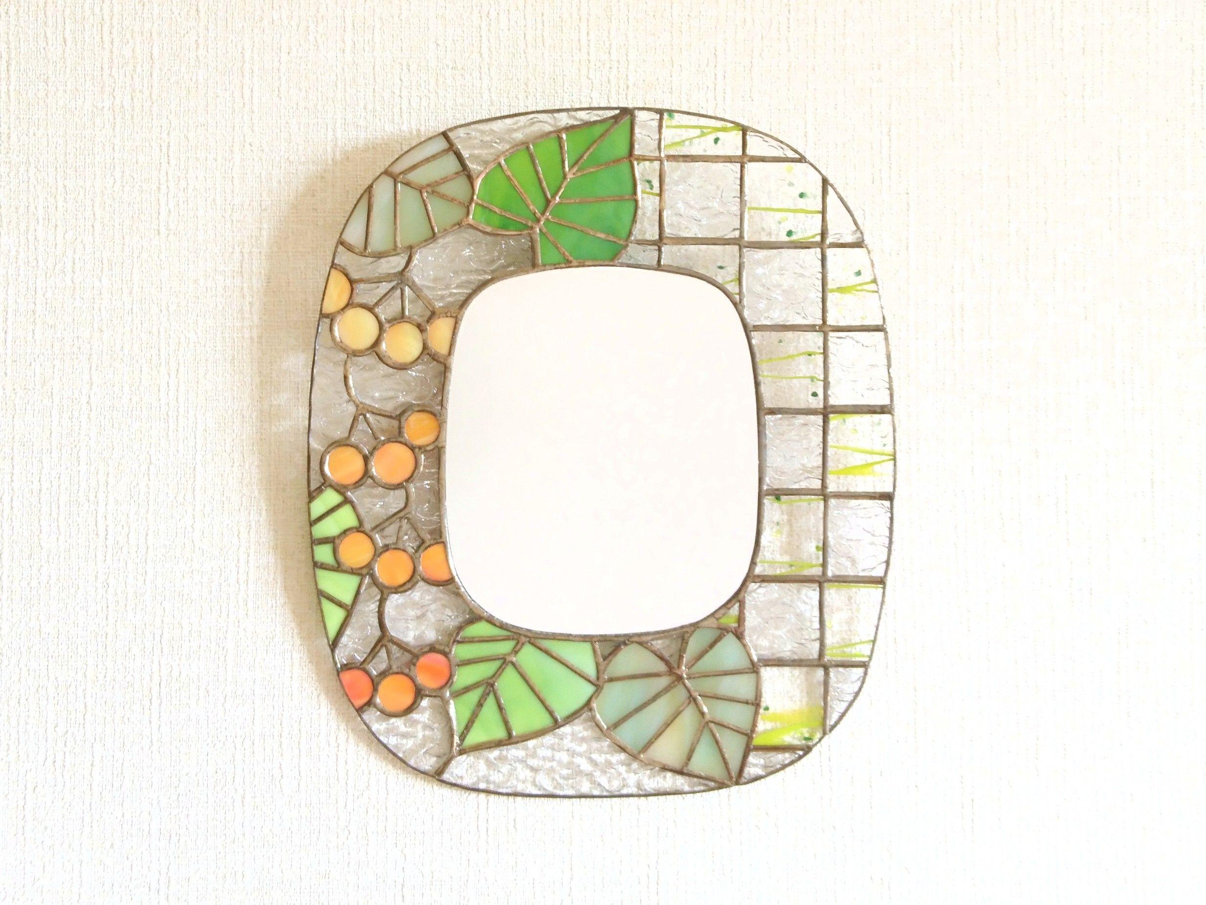 壁掛け鏡 果実 市松 鏡 壁掛け 壁掛け 鏡
