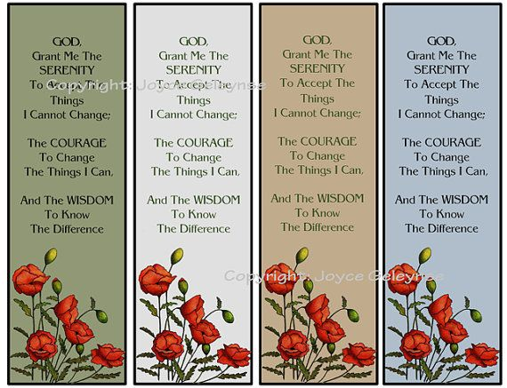 Serenity Prayer Printable Bookmark Bible study Serenity prayer