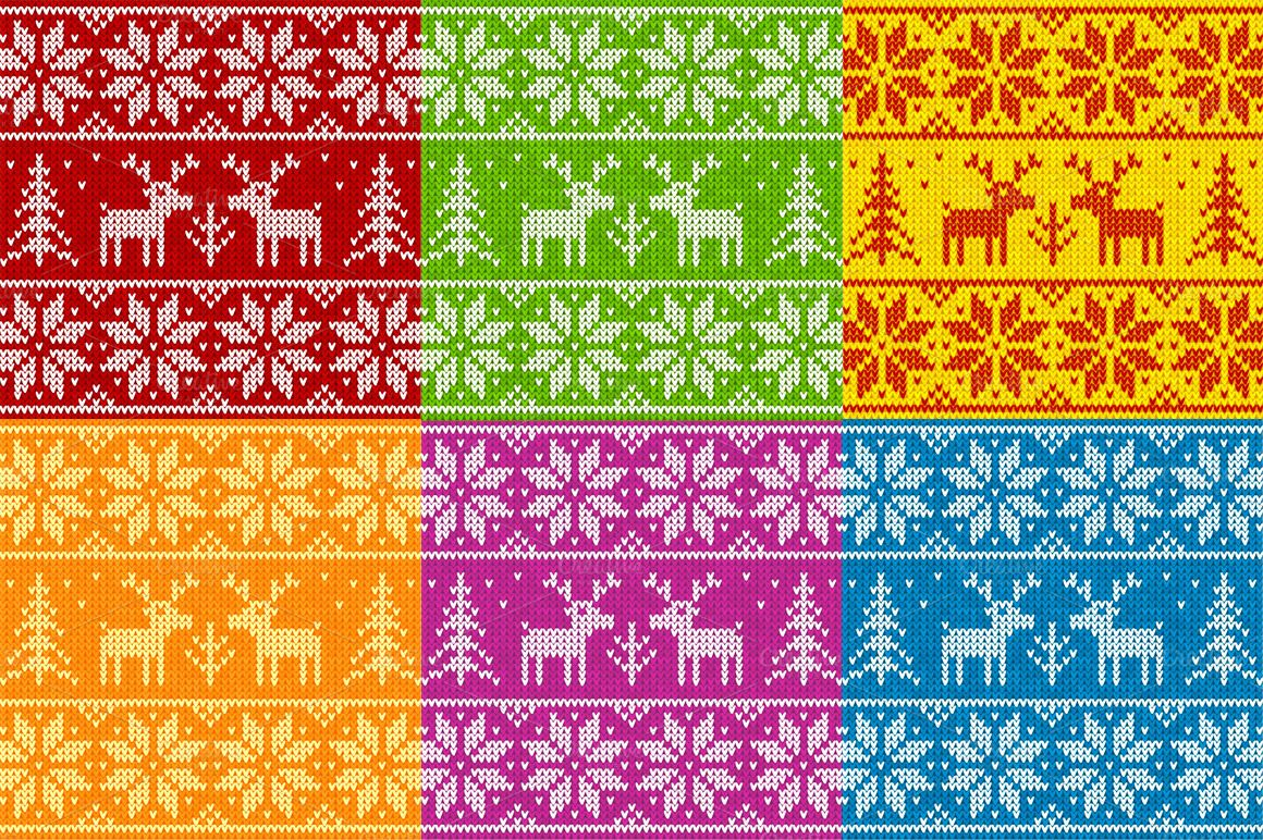 24 knitted deers vector patterns by Art-of-Sun on Creative ...